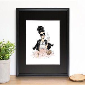 COPY - COPY - Framed fashion girl with bun wall d…